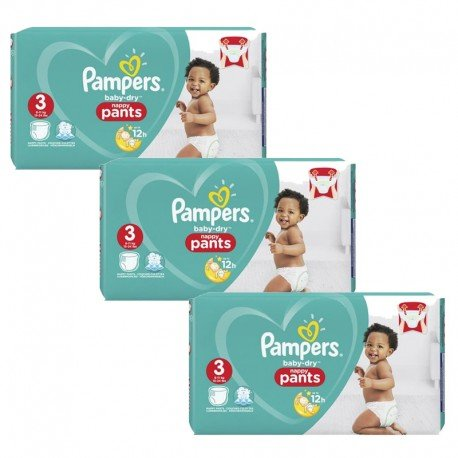 312 Couches Pampers Baby Dry Pants taille 3 sur Sos Couches