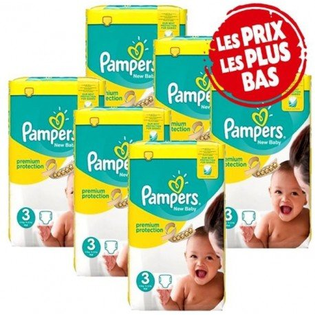 175 Couches Pampers New Baby Premium Protection taille 3 sur Sos Couches