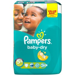 22 Couches Pampers Baby Dry taille 5+