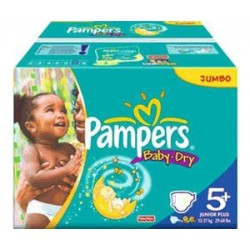 374 Couches Pampers Baby Dry taille 5+