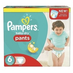 168 Couches Pampers Baby Dry Pants taille 6