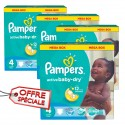104 Couches Pampers Active Baby Dry taille 4 sur Sos Couches