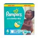 195 Couches Pampers Active Baby Dry taille 4 sur Sos Couches