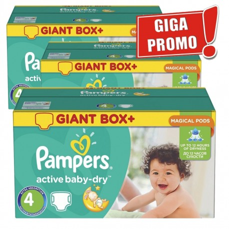 377 Couches Pampers Active Baby Dry taille 4 sur Sos Couches