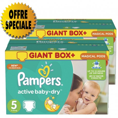 341 Couches Pampers Active Baby Dry taille 5 sur Sos Couches
