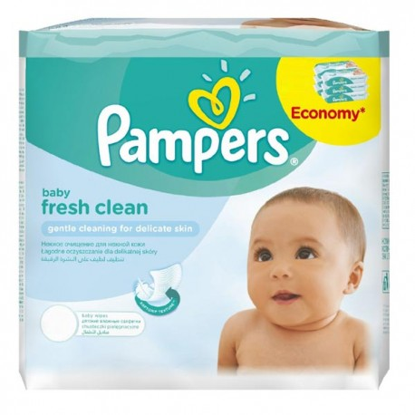 384 Lingettes Bébés Pampers Fresh Clean - 6 Packs de 64 sur Sos Couches