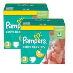 204 Couches Pampers Active Baby Dry taille 3 taille 3