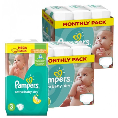 408 Couches Pampers Active Baby Dry taille 3 sur Sos Couches