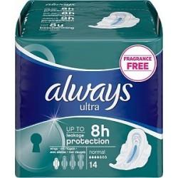 14 Serviettes hygiéniques Always Ultra taille normal plus