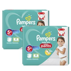 136 Couches Pampers Baby Dry Pants taille 5+