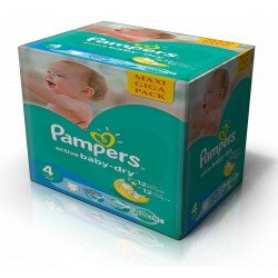 343 Couches Pampers Active Baby Dry taille 4