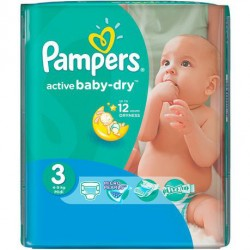 58 Couches Pampers Active Baby Dry taille 3