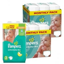 174 Couches Pampers Active Baby Dry taille 3