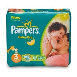 34 Couches Pampers Baby Dry taille 3