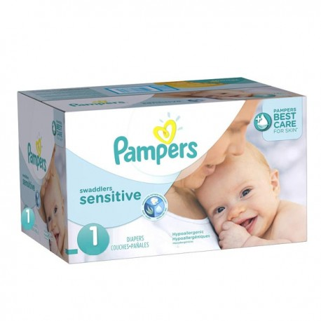achat 299 couches pampers new baby sensitive taille 1. Black Bedroom Furniture Sets. Home Design Ideas