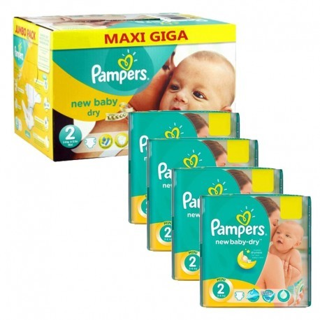 380 Couches Pampers New Baby Dry taille 2 sur Sos Couches