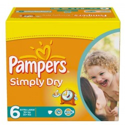 62 Couches Pampers de la gamme Simply Dry taille 6 sur Sos Couches
