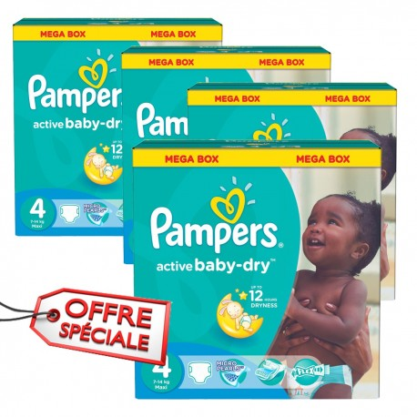 350 Couches Pampers Active Baby Dry taille 4 sur Sos Couches
