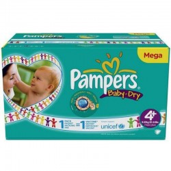 62 Couches Pampers Baby Dry taille 4+