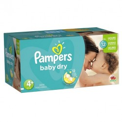 186 Couches Pampers Baby Dry taille 4+