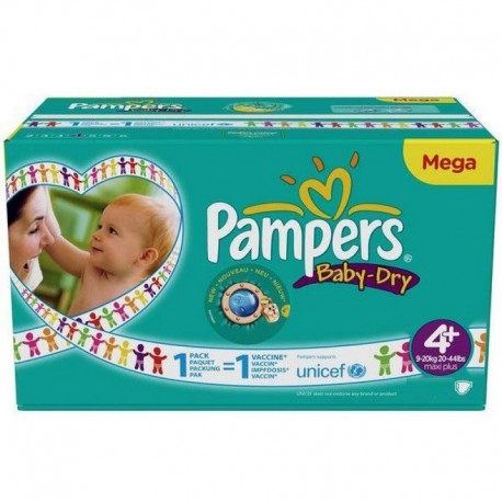 496 Couches Pampers Baby Dry taille 4+ sur Sos Couches
