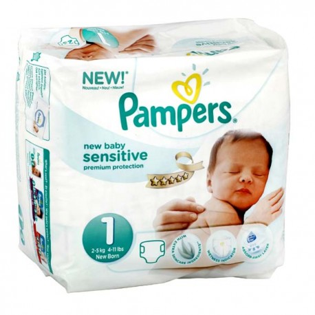 achat 23 couches pampers new baby sensitive taille 1. Black Bedroom Furniture Sets. Home Design Ideas