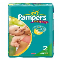 58 Couches Pampers de la gamme Baby Dry taille 2 sur Sos Couches