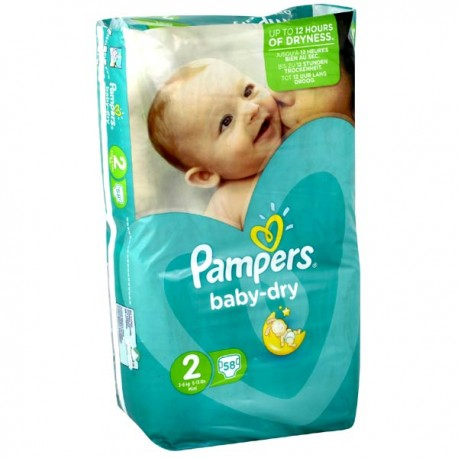 Achat 58 couches pampers baby dry taille 2 en promotion - Prix couches pampers baby dry taille 2 ...