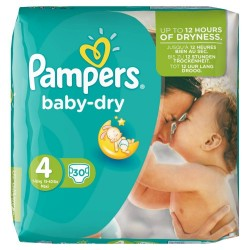 30 Couches Pampers Baby Dry taille 4