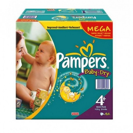 328 Couches Pampers Baby Dry taille 4+ sur Sos Couches