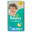 40 Couches Pampers Active Baby Dry taille 4+ sur Sos Couches