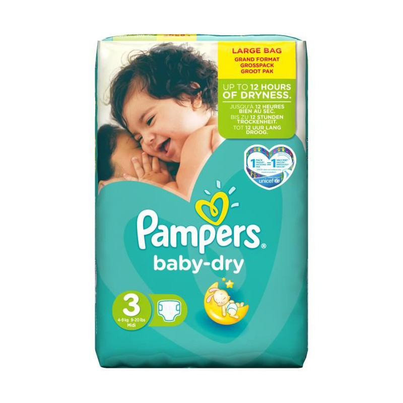 Achat 52 couches pampers baby dry taille 3 pas cher sur - Achat couches pampers en gros pas cher ...