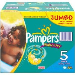 207 Couches Pampers Baby Dry taille 5
