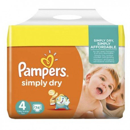 74 Couches Pampers Simply Dry taille 4 sur Sos Couches