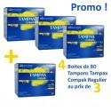 320 Tampons Tampax Compak - 4 au prix de 3 taille regular avec applicateur sur Sos Couches