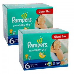 192 Couches Pampers Active Baby Dry taille 6