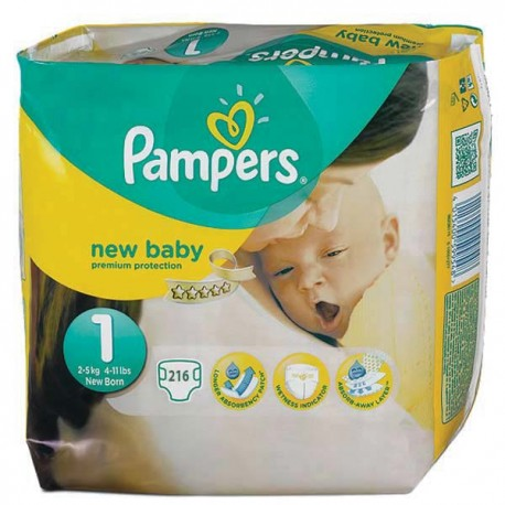 achat 216 couches pampers new baby taille 1 en promotion sur sos couches. Black Bedroom Furniture Sets. Home Design Ideas