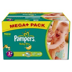 328 Couches Pampers Baby Dry taille 3+