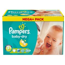 180 Couches Pampers Baby Dry taille 3
