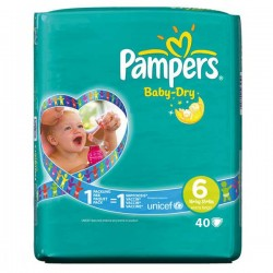 52 Couches Pampers Baby Dry taille 6
