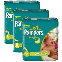 104 Couches Pampers Baby Dry taille 6
