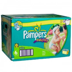 156 Couches Pampers Baby Dry taille 6
