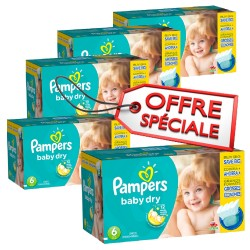 312 Couches Pampers Baby Dry taille 6