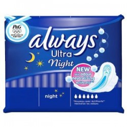 12 Serviettes hygiéniques Always Ultra taille Night
