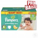 117 Couches Pampers Active Baby Dry taille 4 sur Sos Couches