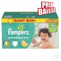 286 Couches Pampers Active Baby Dry taille 4 sur Sos Couches