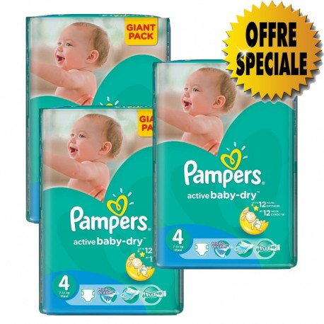 546 Couches Pampers Active Baby Dry taille 4 sur Sos Couches