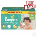611 Couches Pampers Active Baby Dry taille 4 sur Sos Couches