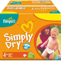 280 Couches Pampers Simply Dry de taille 4+ sur Sos Couches