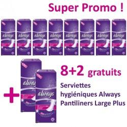 220 Serviettes hygiéniques Always Pantiliners - 10 Packs de 22 Serviettes hygiéniques taille LargePlus